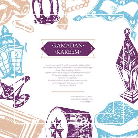 prayer rug: Muslim Symbols - color vector hand drawn vintage Ramadan Kareem postcard with copy space. Realistic zakat al-fitr, dates, beads, drum, lamp, prayer rug, flying magic carpet, lantern. Islamic culture. Illustration
