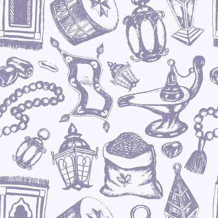 Muslim Symols - vintage vector hand drawn seamless tileable pattern. Realistic zakat al-fitr, dates, beads, drum, lamp, prayer rug, flying magic carpet, lantern. Islamic culture. Ilustrace