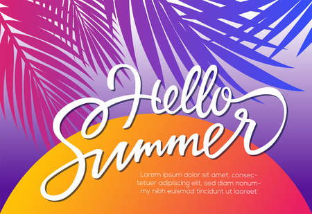 Hello Summer - vector postcard, banner template with hand drawn brush pen lettering on sunset background with palm tree leaves.