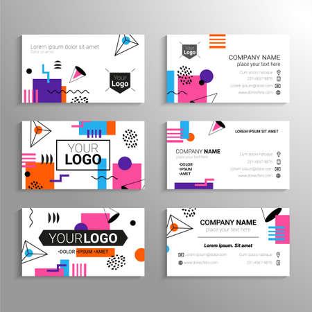 名刺 - 抽象的なフラット デザインの背景を持つベクトル テンプレート。あなた自身またはあなたの会社、サービス、連絡先情報を表します。