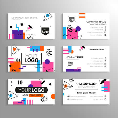 Business cards - vector template with abstract flat design background. Represent yourself or your company, services, contact information.