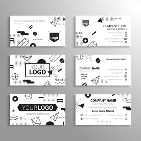 Business cards - vector template abstract bw background Illustration