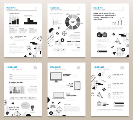 Presentation booklets - bw vector template a4 pages set Illustration