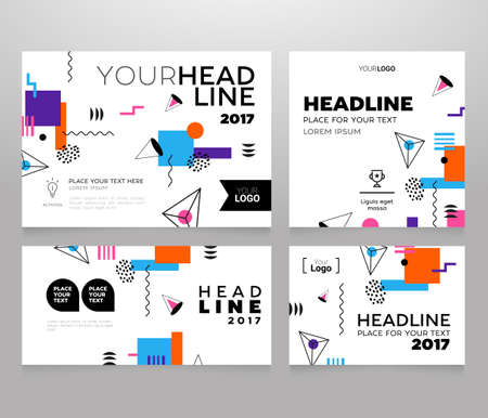 Headline Banner - vector template illustration poster with abstract flat design background. Make your idea look good, promote it.