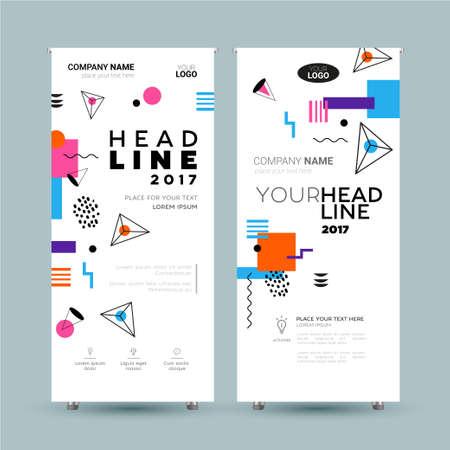 企業バナー - 抽象的なフラット デザインの背景を持つベクトル テンプレート イラスト。よく見るあなたの会社を作る。