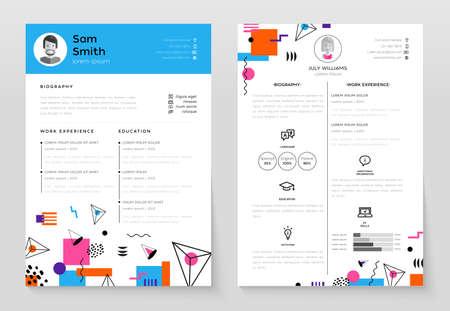 個人の履歴書 - 抽象的なフラット デザインの背景を持つベクトル テンプレート イラスト。あなたの履歴書も構成を確認します。