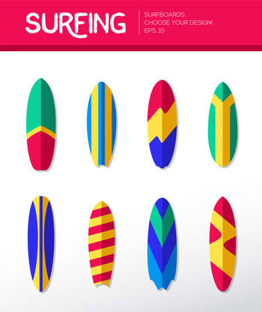 Surfing Boards - modern vector flat design icons set.