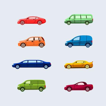 車の分類 - 現代ベクトル フラットなデザインのアイコンを設定します。