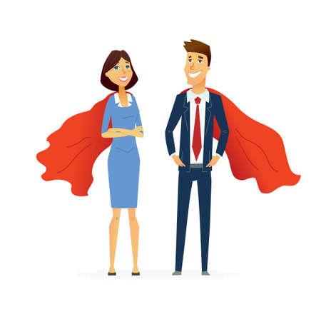 비즈니스 남자와 여자 - 현대 평면 디자인 사람들이 문자 조성.