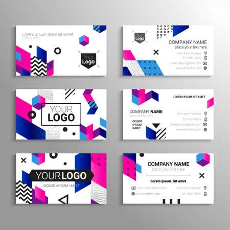 名刺 - 抽象的なフラット デザインの背景を持つベクトル テンプレート。あなた自身またはあなたの会社、サービス、連絡先情報を表します。さまざ