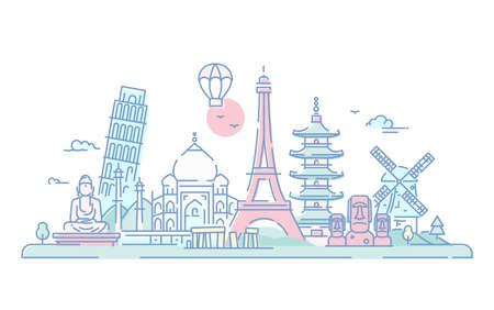 국가 - 현대 벡터 라인 여행 그림. 발견 인도, 일본, 프랑스, 이탈리아, 네덜란드. 세계의 유명한 랜드 마크 - 에펠 탑, 피사의 탑, 부처 기념물, 도리, Taj