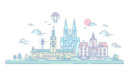 Europese landen - moderne vector lijn reizen illustratie. Nederland en Duitsland. Bestemmingsscènes voor briefkaart, banner, bijsluiter. Wereldberoemde oriëntatiepunten - de kathedraal van Keulen, Hamburg Rathaus Stockfoto - 79651953
