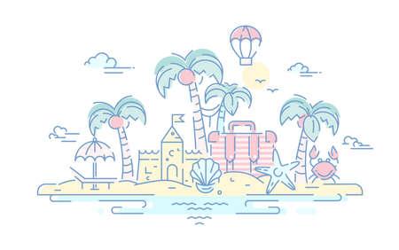 Aan de kust - moderne vector lijn reizen illustratie. Eilandparadijs concept. Heb een reis, geniet van uw vakantie op het strand. Doelscenario's voor briefkaart, banner, folder.