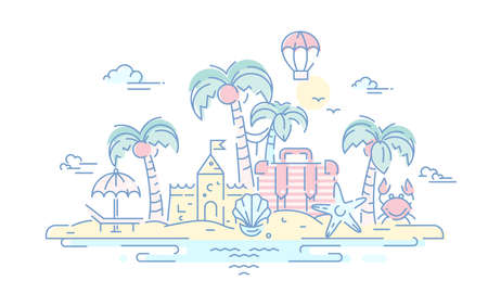 destination scenics: At the Seaside - modern vector line travel illustration. Island paradise concept. Have a trip, enjoy your vacation on the beach. Destination scenics for postcard, banner, leaflet. Illustration