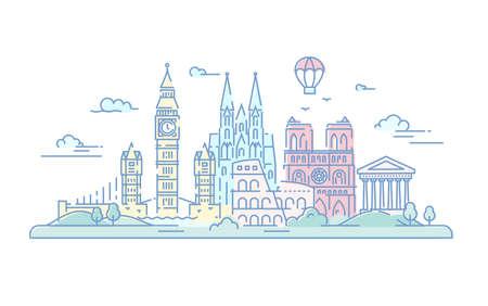 Europese landen - moderne vector lijn reizen illustratie. Italië, Duitsland en Groot-Brittannië. Bestemmingsscènes voor briefkaart, banner, bijsluiter. Wereldberoemde bezienswaardigheden Stockfoto - 79651728