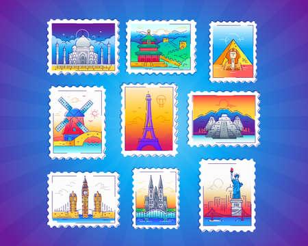 Postzegels - vector lijn reizen illustratie Stockfoto - 79651597