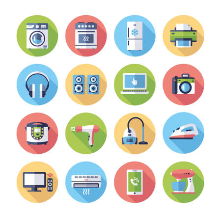 Home appliances - modern vector flat design icons set. Washing machine, oven, fridge, printer, headphones, acoustic system, laptop, camera, hair dryer, vacuum cleaner, iron, television, central heating, mobile device, mixer