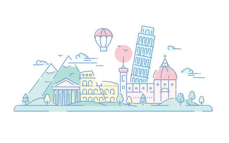 Italië - vector lijn reizen illustratie Stock Illustratie