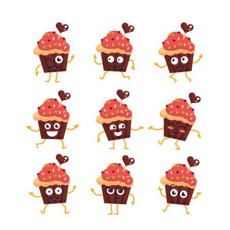 カップケーキ - マスコット イラストのベクトルを設定します。