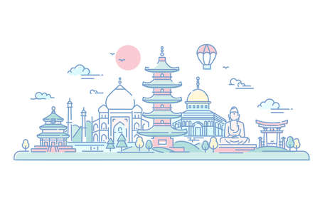 Asian Countries - vector line travel illustration