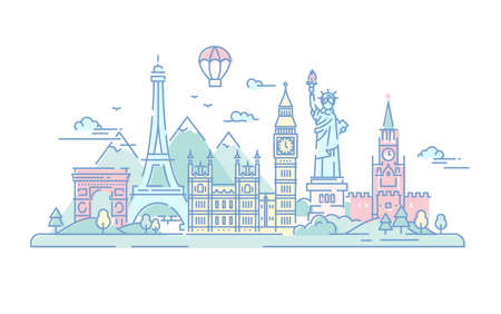 Countries - vector line travel illustration