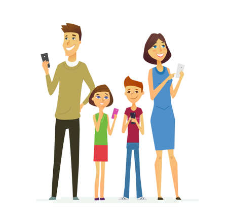Family - colored modern flat illustrative composition.