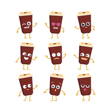 커피 만화 캐릭터 - 현대 벡터 템플릿 마스코트 그림 - 춤, 웃 고, 좋은 시간 보내고 집합. 이모티콘, 행복, 감정, 사랑, 놀라움, 깜박임 일러스트