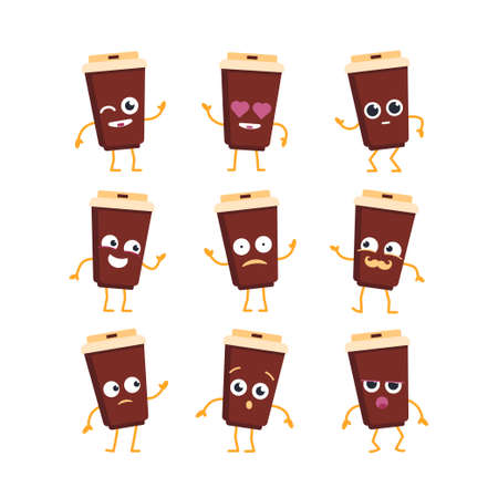 Coffee Cartoon Character - modern vector template set of mascot illustrations - dancing, smiling, having a good time. Emoticons, happiness, emotions, love, surprise, blinking Çizim