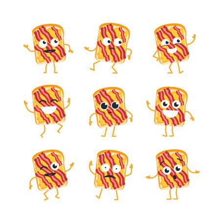 サンドイッチの漫画のキャラクターのマスコット イラストの現代ベクトル テンプレート セット。-ダンス、笑顔、良い時間を過ごしてします。顔文