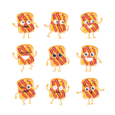 Sandwich Cartoon Character - modern vector template set of mascot illustrations. - dancing, smiling, having a good time. Emoticons, emotions, surprise, blinking