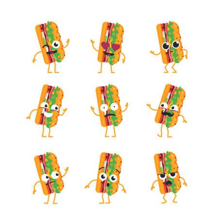 하위 만화 캐릭터 - 현대 벡터 템플릿 마스코트 삽화 - 춤, 웃 고, 좋은 시간 보내고 집합. 이모티콘, 감정, 사랑, 차가움, 키스, 놀라움, 깜박임