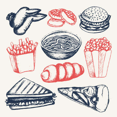 Fast food - illustration of color vector hand drawn vintage composition. Chicken wing, nugget, cheeseburger, and more.