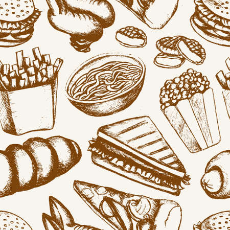 one color: Fast food - one color hand drawn seamless pattern