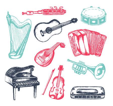 Instruments de musique - illustration de composition vintage dessinés à la main Banque d'images - 80121167
