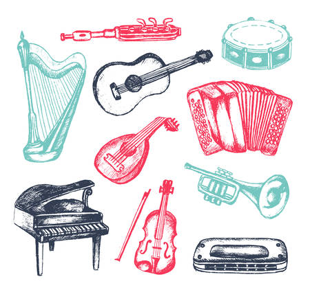 Musical Instruments - illustration of hand drawn vintage composition