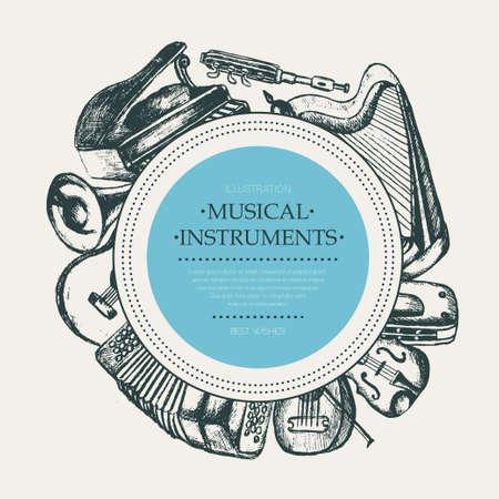 Strumenti musicali - modello a bandiera rotonda disegnata a mano. Archivio Fotografico - 80121163