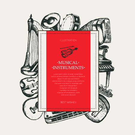 Musical Instruments - hand drawn square postcard template.