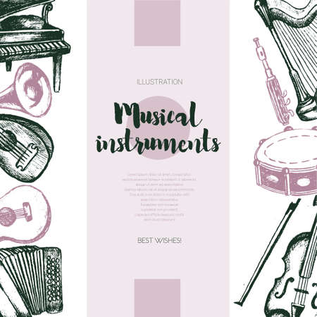 Musical Instruments - color vector hand drawn vintage banner with copy space. Realistic violin, drum, flute, guitar, harp, trombone, accordion, piano, harmonica, lute. Display your store, band.