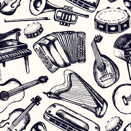 Musical Instruments - one color hand drawn seamless pattern Archivio Fotografico - 128175441