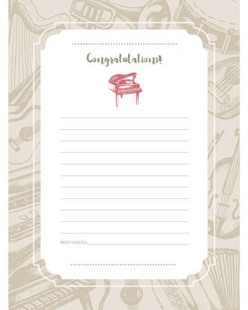 Musical Instruments - hand drawn template card. Illustration