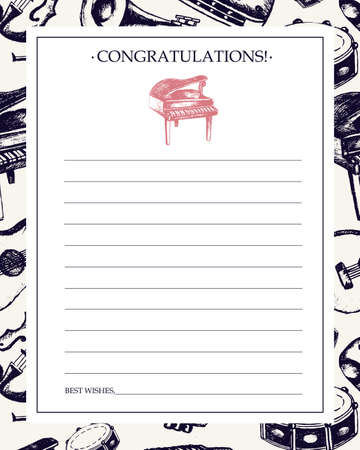 Musical Instruments - hand drawn template card.