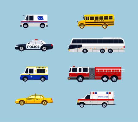 Vehículo de transporte - vector moderno diseño plano iconos conjunto. Correo, autobús escolar, coche policial, taxi, ambulancia, charter, camión de helados, camión de bomberos. Haga una presentación, muestre los servicios de la ciudad. Ilustración de vector