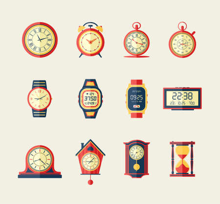 Clocks and Watches - modern vector flat design icons set. Old, new, digital, sand, vintage, analog, sports, stopwatch, alarm, cuckoo. Know your exact time, make a presentation about it.