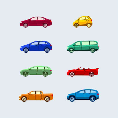 Car Classification - modern vector flat design icons set. Hardtop, sedan, mini, microcar, hatchback, minivan, station wagon, cabriolet, coupe, pickup, SUV. Know vehicle types and drive safe. 向量圖像