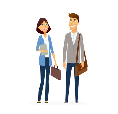 Business People - colored vector flat design composition of cartoon characters. Male and female holding briefcases. Communication, responsibility, efficiency, success. Illustration