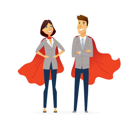 Business People - colored vector flat design composition of cartoon characters. Make a great presentation with these people in red superhero capes, Responsibility, efficiency, success. Фото со стока - 80120140