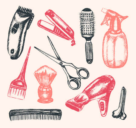 pastime: Barber Equipment - illustration of color vector hand drawn vintage composition. Realistic scissors, comb, toothcomb, hairdryer, clipper, hair straightener, dyeing, shaving brush, peg, sprayer.