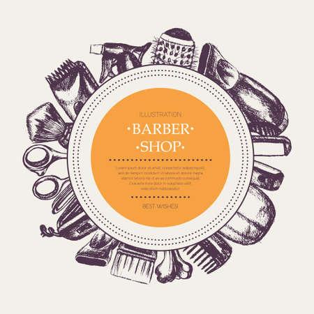 装置 - バナー テンプレート コピー スペースでラウンドを描いて現代ベクトル手の理髪師します。現実的なはさみ、くし、toothcomb、ヘアドライヤー