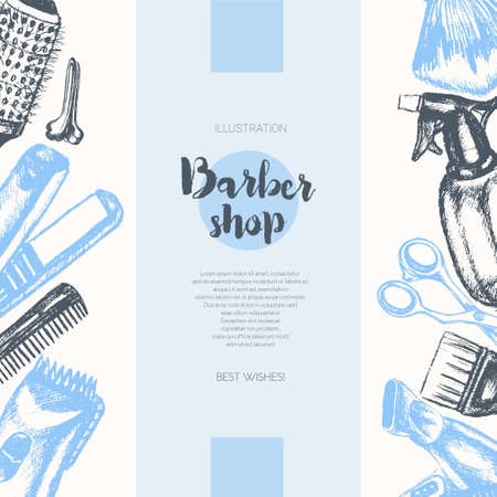 Barber Equipment - color vector hand drawn vintage banner template with copy space. Realistic scissors, comb, toothcomb, hairdryer, clipper, hair straightener, dyeing, shaving brush, peg, sprayer.