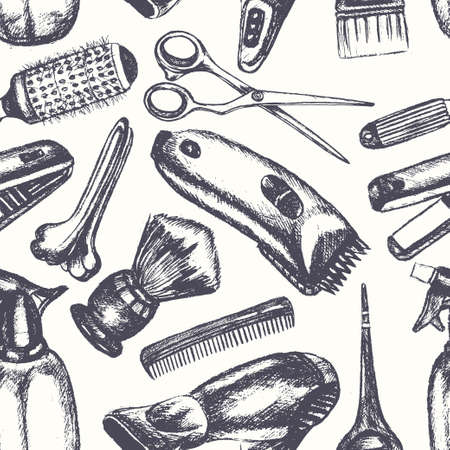 Barber Equipment - one color vector hand drawn seamless pattern. Realistic scissors, comb, toothcomb, hairdryer, clipper, hair straightener, dyeing, shaving brush, peg, sprayer. Promote your salon Ilustracja